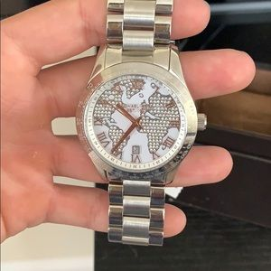 Silver oversized Michael Kors watch
